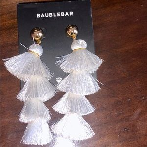 Never worn NWT White Bauble Bar Tassel Earrings💕
